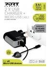 WALL CHARGER 2 USB + Cable Micro USB