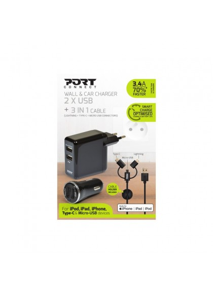 WALL + CAR CHARGER 2 USB + 3N1 - EU