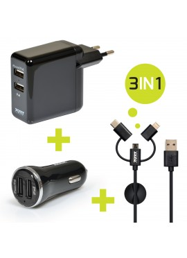 Chargeur mural + allume cigare USB + câble 3 IN 1
