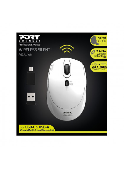 MOUSE WIRELESS SILENT PRO WHITE