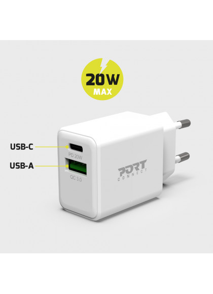 WALL CHARGER COMBO USB-C PD & USB-A 20W POWER DISTRIBUTION