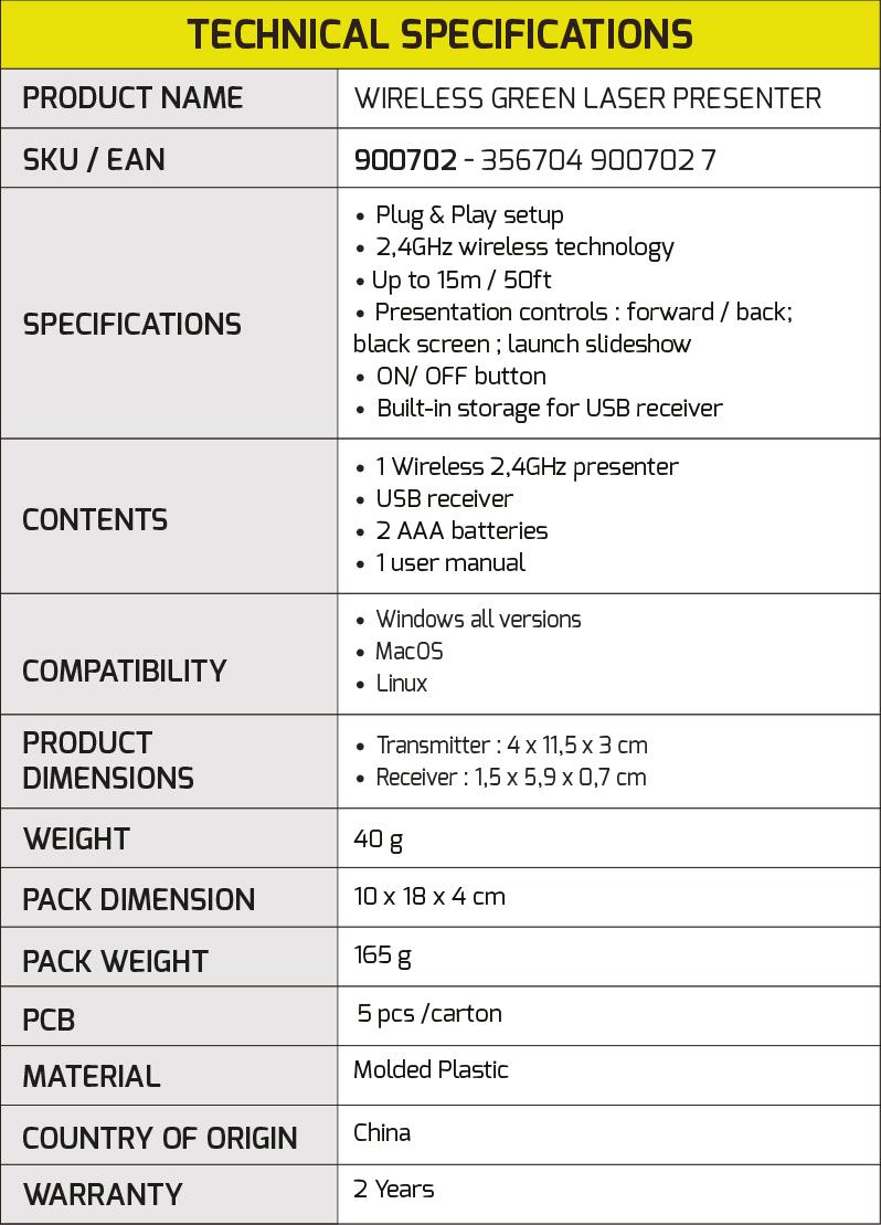 Wireless Green Laser Presenter Port Designs