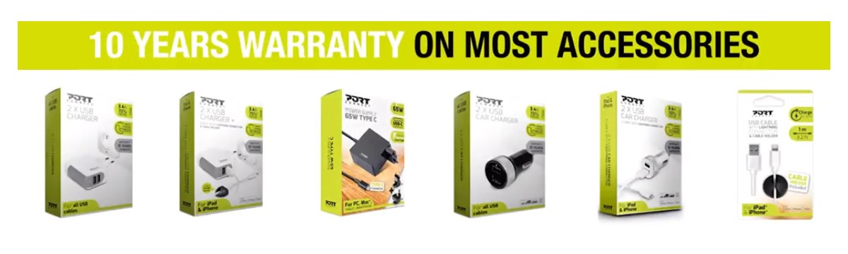 10 years warranty on the majority of PORT Connect accessories