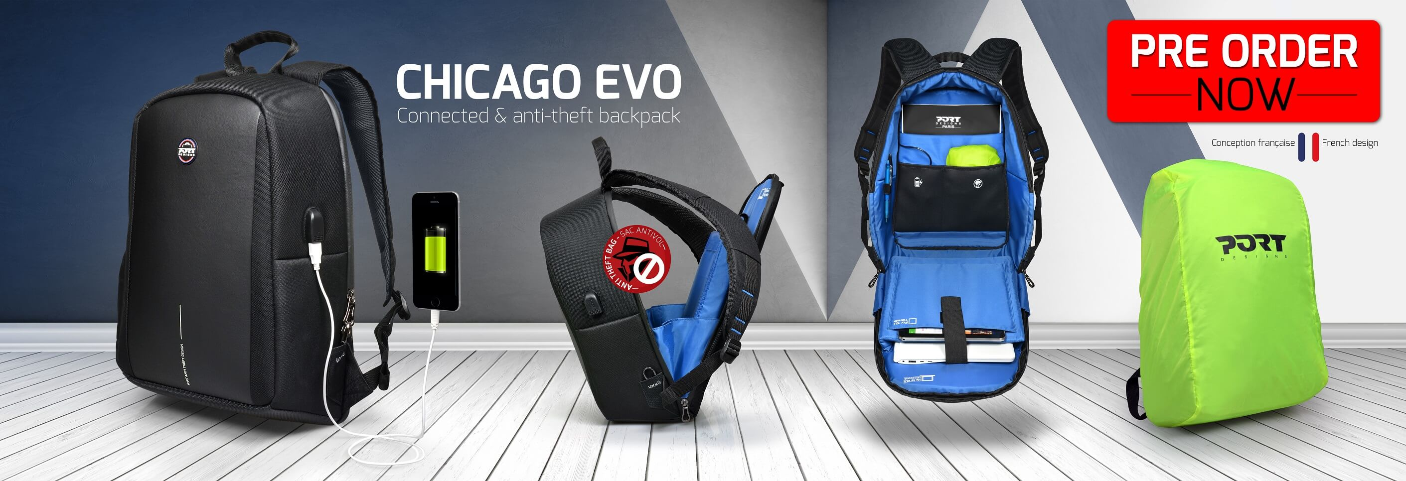 Chicago Evo Backpack anti-theft & connected